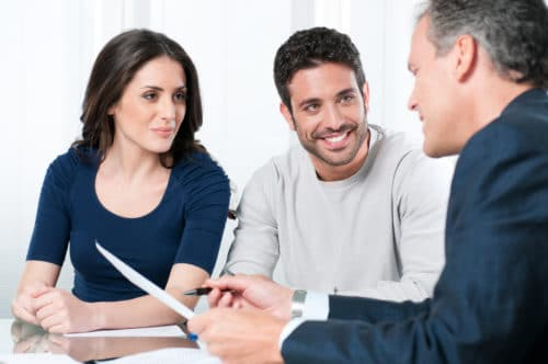 Attorney discussing options with clients